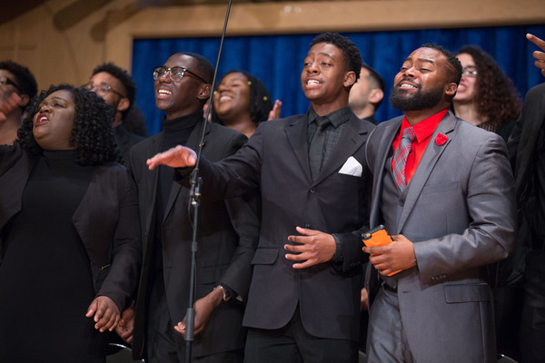 Deliverance Mass Choir leads the congregation in joyful song during New Life Fellowship's service at PMC. [Photo: Heidi Ramirez]