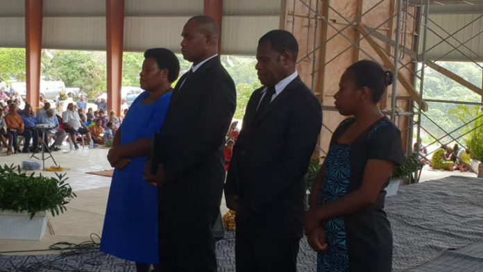 The ordination candidates and their wives, during the special worship service on November 3, 2018, at the new Adventist Center of Influence in Port Vila, Vanuatu. It is estimated 3,000 church members and visitors attended the ceremony. [Photo: Adventist Record]