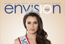 Envision magazine, a student-produced publication at Andrews University, received the Associated Collegiate Press (ACP) Pacemaker award for its 10th issue, which features Mekayla Eppers, Mrs. America 2018, on the cover. [Photo: Envision magazine]