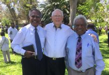 Pioneering Sonoma Adventist College students Jim Manele and John Hamura with the college's first principal, Alexander Currie (center), in September 2018, at the 50th anniversary celebrations of Sonoma's opening. [Photo: Adventist Record]