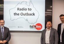 From left, Australia Union Conference president Jorge Munoz, Aboriginal and Torres Strait Islander Ministries director Darren Garlett, and Faith FM coordinator Michael Engelbrecht at the November 27, 2018 launch. [Photo: Adventist Record]