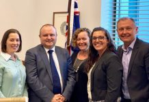 "With his Micah Australia lobby group, ADRA volunteer regional coordinator John Smilek (right) met with his local parliamentarian, Jason Wood (second from left), Member for La Trobe in the state of Victoria. Smilek's visit was part of the ""Voices for Justice"" gathering at Australia's Parliament, Dec. 1-4, 2018. [Photo: Adventist Record]"