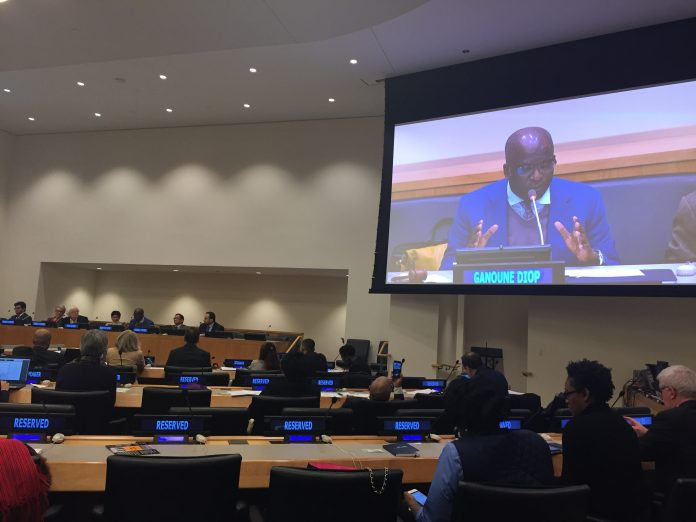 Ganoune Diop (visible on screen at right), Public Affairs and Religious Liberty director for the Seventh-day Adventist Church, was a presenter and moderator in the morning session of the fifth Annual Symposium on the Role of Faith-Based Organizations in International Affairs, held January 29, 2019, at the United Nations Secretariat in New York City. [Photo: Bettina Krause, Public Affairs and Religious Liberty]