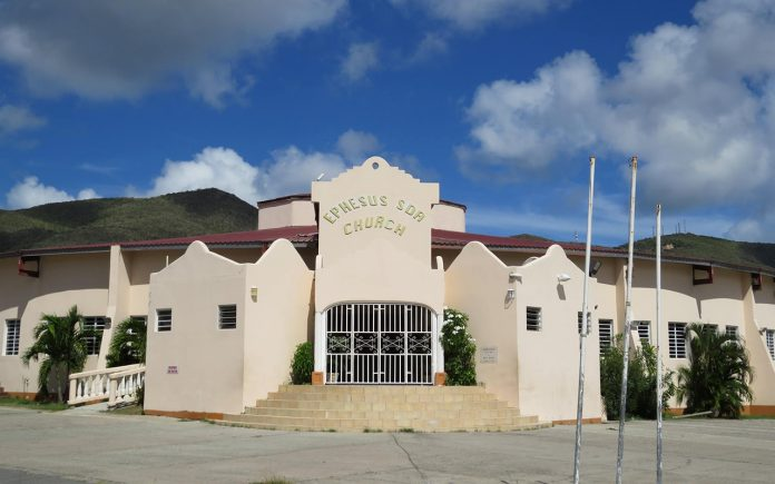 The Ephesus Seventh-day Adventist Church on Sint Maarten was rededicated on June 2, 2019, after Hurricane Irma destroyed it nearly two years ago. [Photo: Ephesus Adventist church Facebook account]