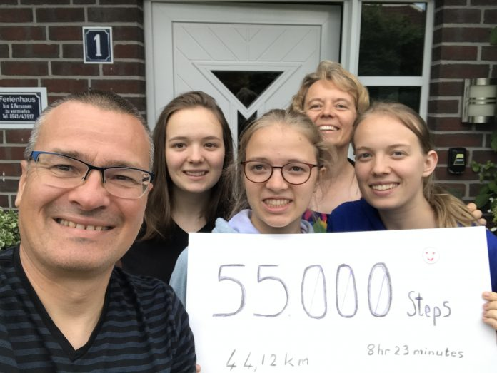 A selfie of the Klingbeil family. Each member of the family supported Gerald Klingbeil's initiative to walk 55,000 steps in a day by walking at least 10,000 steps with him. [Photo: courtesy of Chantal Klingbeil]