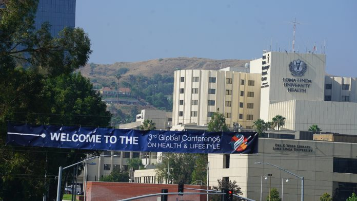 A banner welcomes participants to the 3rd Global Conference on Health and Lifestyle in Loma Linda, California, United States, on July 9, 2019. More than 800 church leaders and health practitioners from 90 countries registered for the conference. [Photo: Marcos Paseggi, Adventist Review]