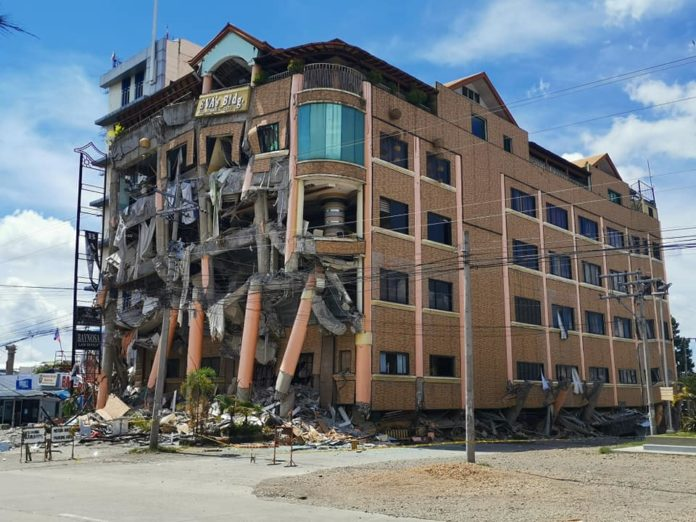 Hotel crumbles after a series of earthquakes near the city of Kidapawan, Cotabato, the Philippines in October 2019. [Photo: ADRA Philippines]