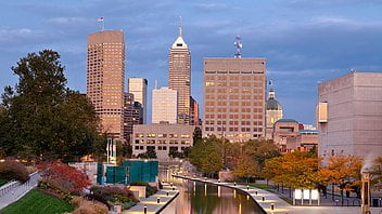 View of downtown Indianapolis in autumn