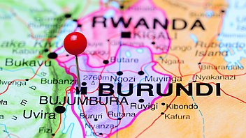 Bujumbura pinned on a map of Africa