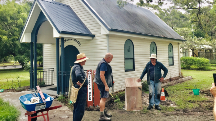 Volunteers construct the start of the Sabbath Walk path outside the Little Chapel at the Stuarts Point Convention Centre in New South Wales, Australia. [Photo: Adventist Record]