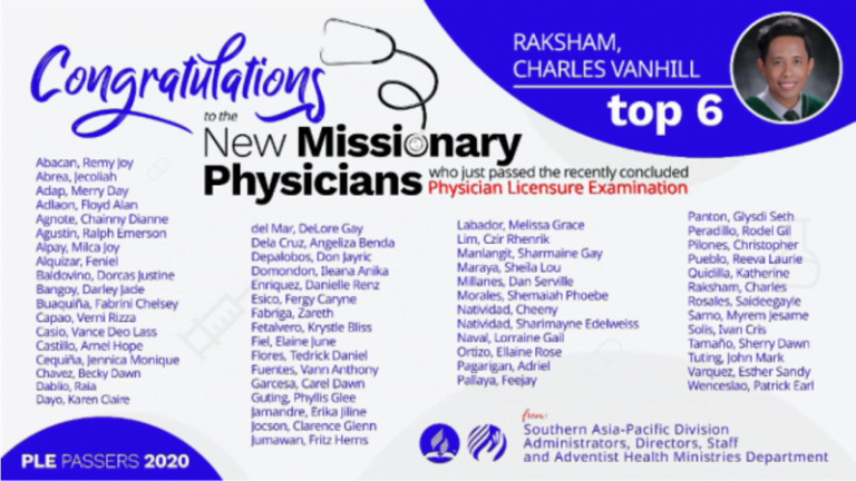 59 New Adventist Doctors Pass the Physician Licensure Examination in the Philippines :Adventist News Online